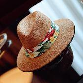寬檐爵士印花拉菲草帽夏海邊度假防曬帽子遮陽帽 免運快速出貨