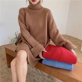韓系女裝 寬鬆高領中長針織連身毛衣【C0918】