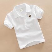 兒童白色T恤男童夏裝女童紅色打底衫純棉翻領上衣寶寶短袖班服 童趣屋 交換禮物