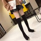 過膝長靴女2019新款秋季襪子彈力瘦瘦網紅粗跟尖頭襪秋針織長筒靴伊鞋本鋪