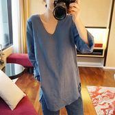 春秋新款韓版U型領寬鬆大碼顯瘦時尚棉麻襯衣女上 伊蒂斯女裝