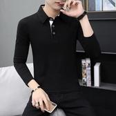 (快出)男士長袖T恤成熟男裝上班族小領衣服年輕爸爸衛生衣男衫30-35