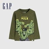 Gap男幼童 Gap x Marvel 漫威系列印花圓領長袖T恤 649639-軍綠色