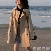 設計感風衣女中長款小個子學生英倫風外套新款秋季流行女裝潮 雙十二全館免運