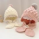 兒童帽子秋冬手工編織帽子圍巾一體女童可愛加厚保暖1-3歲毛線帽 coco