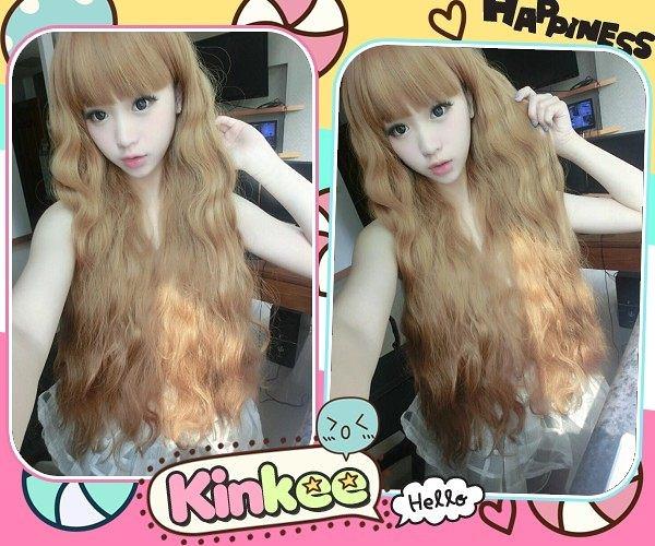 *╮Kinkee假髮╭*玲玲示範  日本原宿系 甜美洋娃娃 修臉捲捲耐熱長捲髮【K3021】