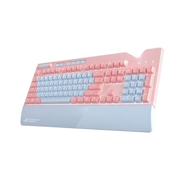 (限時促銷~10/31) 華碩 ROG STRIX FLARE PNK (青軸) 電競鍵盤-粉紅