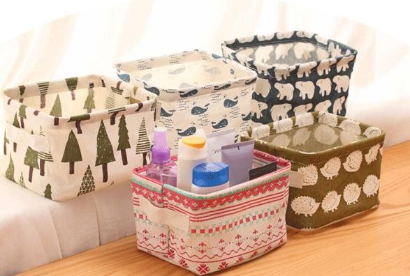 清新 棉麻帶 提把 手提 桌面雜物筐 收納盒 復古碎花款 (兩款隨機出貨)