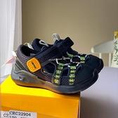 《7+1童鞋》中童 Moonstar 月星 經典迷彩黑 機能護趾涼鞋 E430 黑色