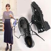 全館83折 英倫風女鞋秋復古厚底單鞋布洛克款式系帶圓頭學院鬆糕牛津小皮鞋