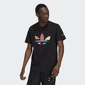 Adidas ADICOLOR 男款 短袖上衣 黑色 彩色大LOGO 幾何圖案 H35646【KAORACER】