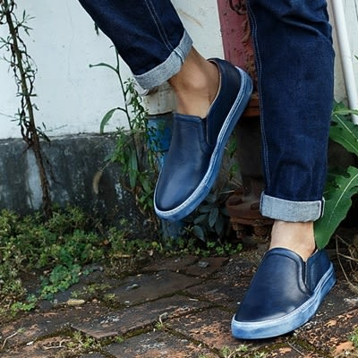 真皮短靴-套腳擦色做舊懶人休閒男靴子2色73kk41【巴黎精品】