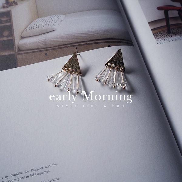 early Morning - 日本日系 三角 壓克力水晶珠流蘇 氣質復古垂墜耳環 日系 【MIJ082】