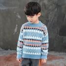 潮流洋氣男童秋冬打底衫 時尚拼色男中大童針織衫 休閒男孩長袖韓版毛衣 套頭衫男寶寶毛衣上衣