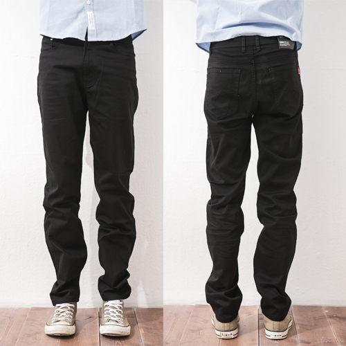 牛仔褲-雅痞簡約百搭黑色長褲