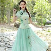 旗袍少女裝長裙日常修身改良小香風演出兩件套洋裝女