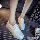 厚底懶人鞋小白鞋厚底女 百搭韓版夏季懶人鞋學生透氣繫帶帆布小白鞋 快速出貨