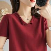 2020夏季新款棉麻T恤女寬鬆韓版純棉短袖POLO領棉線針織衫上衣女 浪漫西街