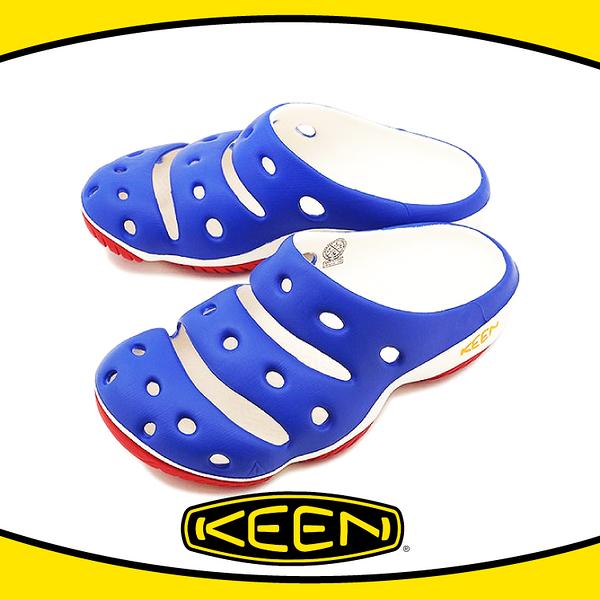 【KEEN 美國 男 Yogui 專業戶外護趾拖鞋《藍/白/紅》】1011265/透氣/快乾/沙灘鞋/懶人拖
