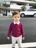嬰童裝男童毛衣打底衫冬裝寶寶圓領純色針織衫兒童長袖上衣