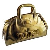 【奢華時尚】TODS 金色亮面牛皮大LOGO手提斜背兩用保齡球包(八五成新)#25219