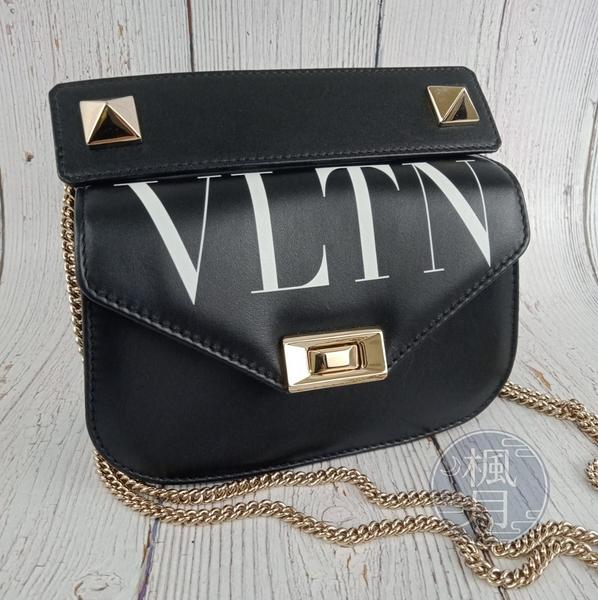 BRAND楓月 VALENTINO 范倫鐵諾 黑色 皮革 白LOGO 金色鉚釘 金鍊 掀蓋 斜背包 肩背包