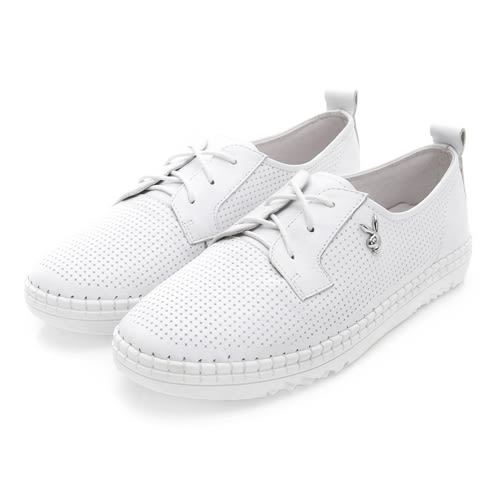 PLAYBOY BASIC ICON 真皮綁帶休閒鞋-白