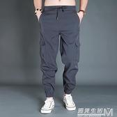 速干褲男夏季戶外運動彈力寬鬆男褲鬆緊腰束腳褲男長褲子潮