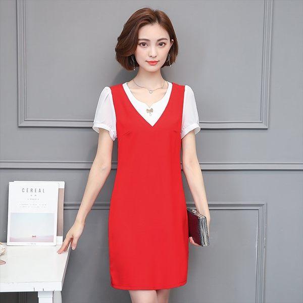 V領假兩件式拼接短袖連身裙 大尺碼