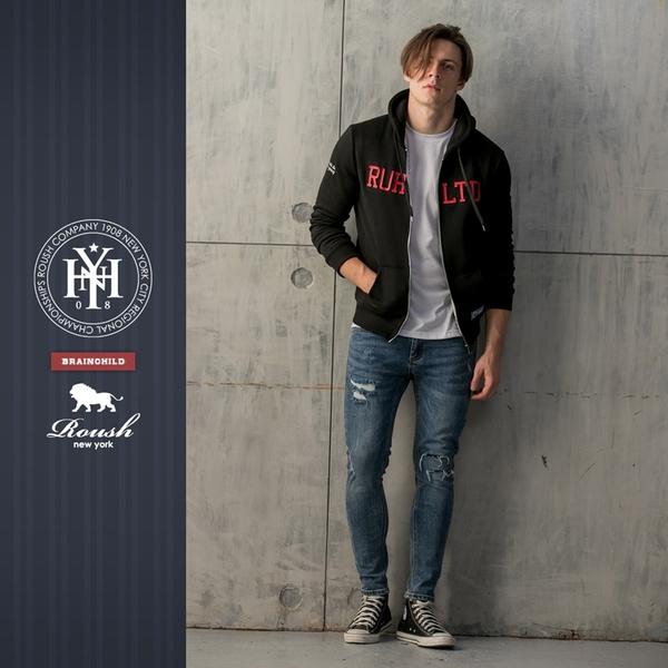 【Roush】 美式立體鋼印刷毛連帽外套 -【815809】
