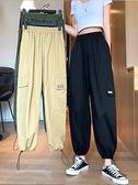 工裝褲 運動褲夏季2021年新款韓版寬鬆休閒褲女高腰工裝褲顯瘦百搭長褲潮 歐歐