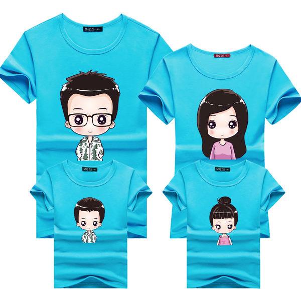 親子裝T恤藍色家庭裝可愛男孩女孩棉質T恤親子裝 現貨