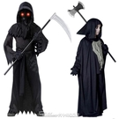 萬聖節兒童服裝cos遮面惡 魔衣斗篷死神披風惡魔鬼衣吸血鬼衣服