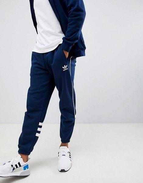 KUMO SHOES-ADIDAS Originals 藍白 三線 縮口 窄版 直筒 口袋 運動 長褲 DH3858