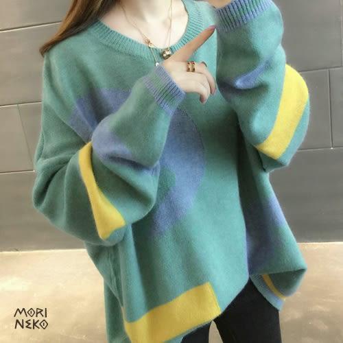 幾何印象拚色。5色針織毛衣【12811134】