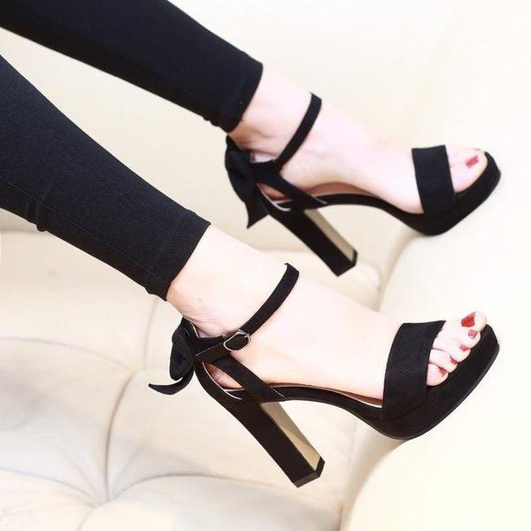 高跟鞋魚嘴高跟涼鞋女粗跟夏季新款時尚百搭厚底高跟鞋防水台女鞋子 依夏嚴選