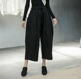 日系寬鬆抽繩直筒八分寬鬆初秋薄版休閒褲/設計家