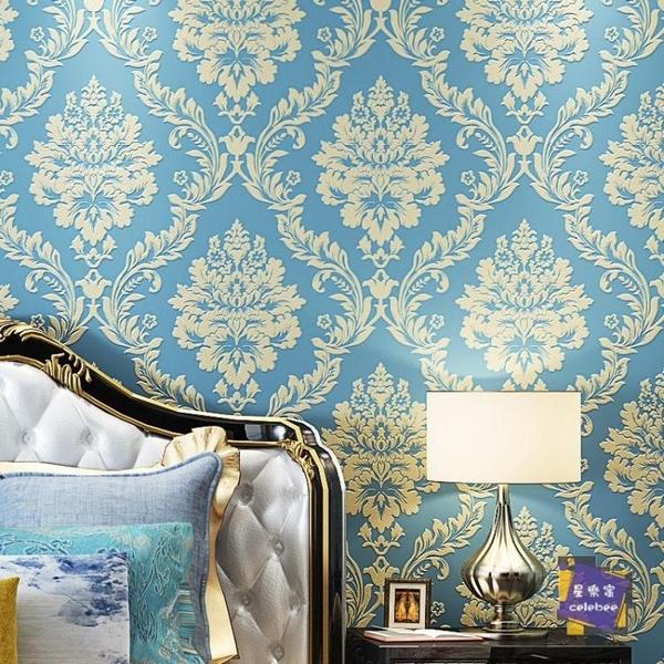 壁紙 歐式牆紙壁紙3D無紡布牆紙客廳臥室電視背景壁紙現代簡約浮雕牆紙T 5色