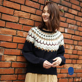 GLOBAL WORK女北歐風幾何圖騰拼接絨毛落肩長袖針織毛衣-三色