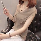 女夏季2018新款短袖蕾絲雪紡娃娃衫仙氣質上衣韓版修身百搭針織衫 萬聖節服飾九折