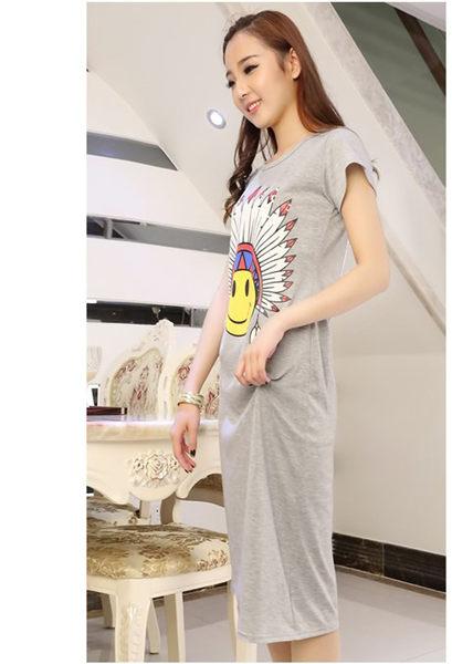 莫代爾短袖連衣裙女印第安笑臉圓領顯瘦中長款打底裙 +R印第安連衣裙  &小咪的店&
