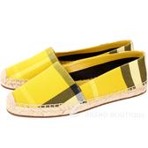 BURBERRY Canvas 經典格紋草編鞋(女鞋/黃色) 1711065-66