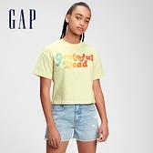 Gap女童 可愛印花純棉短袖T恤 688748-淺黃色