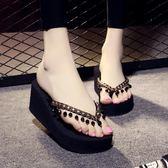 夾腳拖鞋  女坡跟高跟沙灘拖鞋時尚夾腳韓版海邊涼拖女夏外穿