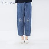 a la sha 阿財編織口袋低檔牛仔褲