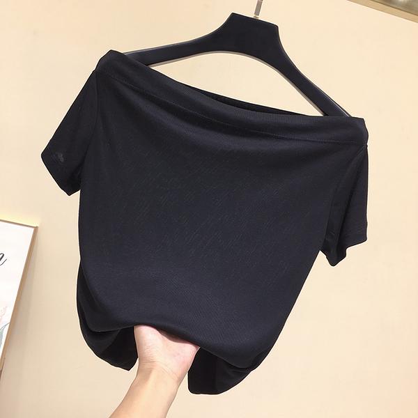 一字領上衣 夏裝性感顯瘦純色一字領短袖T恤女露肩百搭簡約修身一字肩上衣-Ballet朵朵