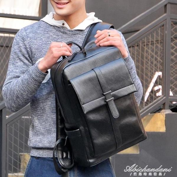 潮流時尚休閒青年後背包男士背包日韓版大容量黑色PU皮書包男 黛尼時尚精品