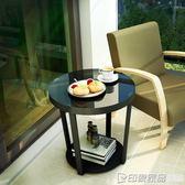 北歐現代簡約沙發邊幾櫃迷你小茶幾角幾客廳洽談鐵藝玻璃小圓桌子  印象家品旗艦店