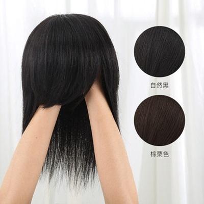 假髮(真髮)-仿真自然短直髮40cm女假髮2色73uh47【時尚巴黎】