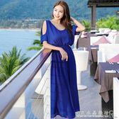 波西米亞沙灘裙 大碼胖MM寬鬆顯瘦洋裝 露肩雪紡度假海灘裙長裙 『CR水晶鞋坊』